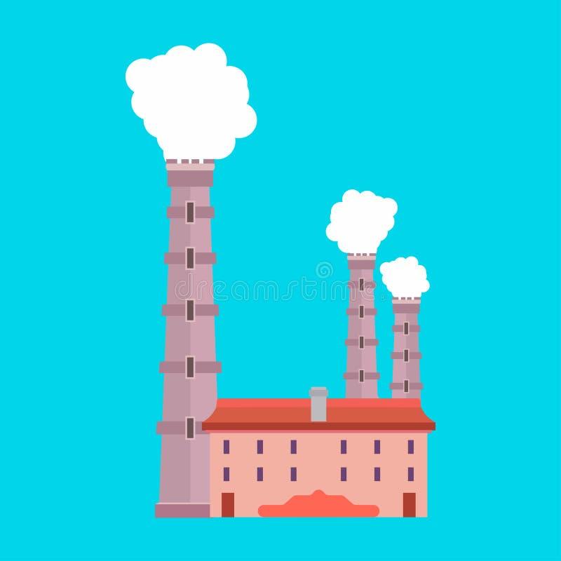 Διανυσματικό περιβάλλον εικονιδίων παραγωγής βιομηχανίας εργοστασίων Εγκαταστάσεις καθαρισμού αρχιτεκτονικής καπνού ρύπανσης Κατα απεικόνιση αποθεμάτων