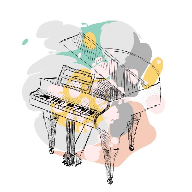 Διανυσματικό πιάνο σκίτσων διανυσματική απεικόνιση
