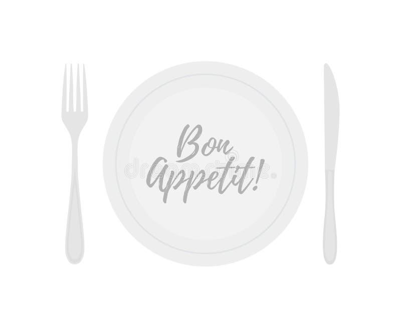 Διανυσματικό πιάτο με το δίκρανο και το μαχαίρι Τίτλος όρεξης Bon απεικόνιση αποθεμάτων