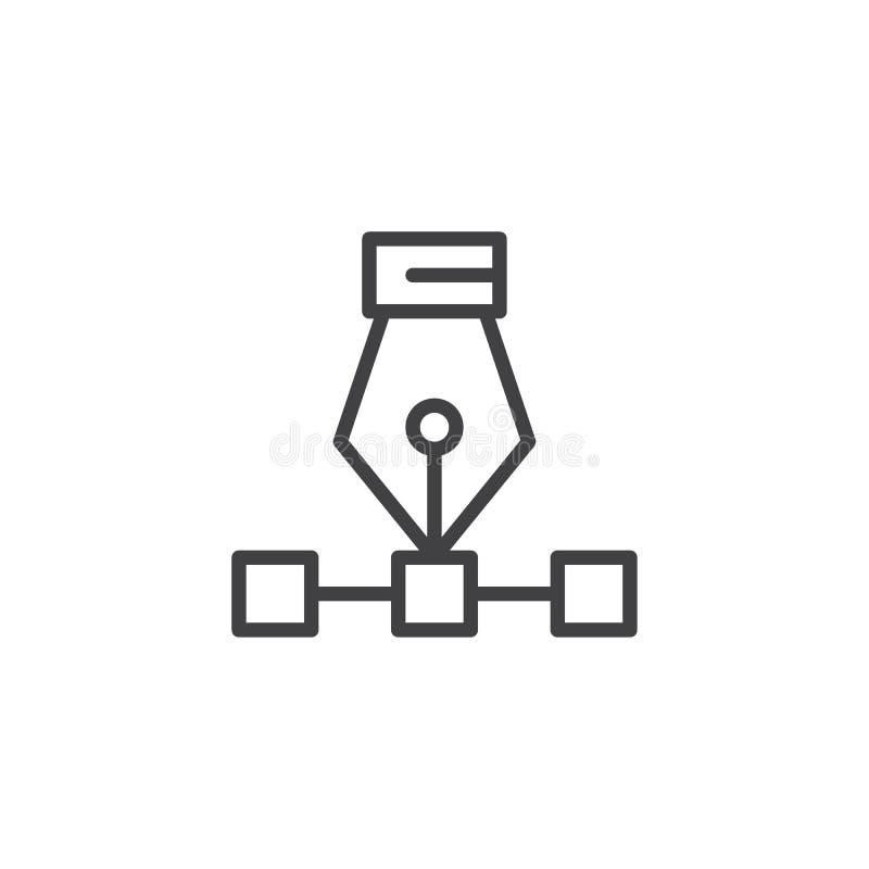 Διανυσματικό πιό bezier εικονίδιο περιλήψεων εργαλείων μανδρών καμπυλών διανυσματική απεικόνιση