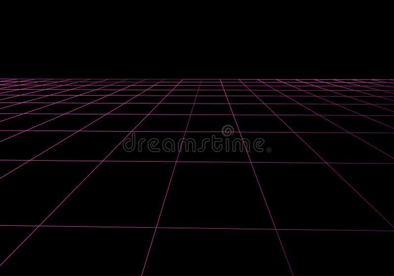 Διανυσματικό πλέγμα προοπτικής Αφηρημένο υπόβαθρο πλέγματος Polygonal βουνά αναδρομικό υπόβαθρο του Sci Fi της δεκαετίας του '80  ελεύθερη απεικόνιση δικαιώματος