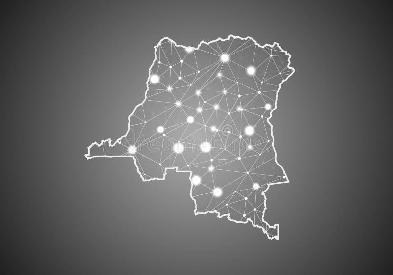 Διανυσματικό πλέγμα wireframe polygonal του Κογκό ο ΔΡ χάρτης Αφηρημένη σφαιρική δομή σύνδεσης Χάρτης που συνδέεται με τις γραμμέ ελεύθερη απεικόνιση δικαιώματος