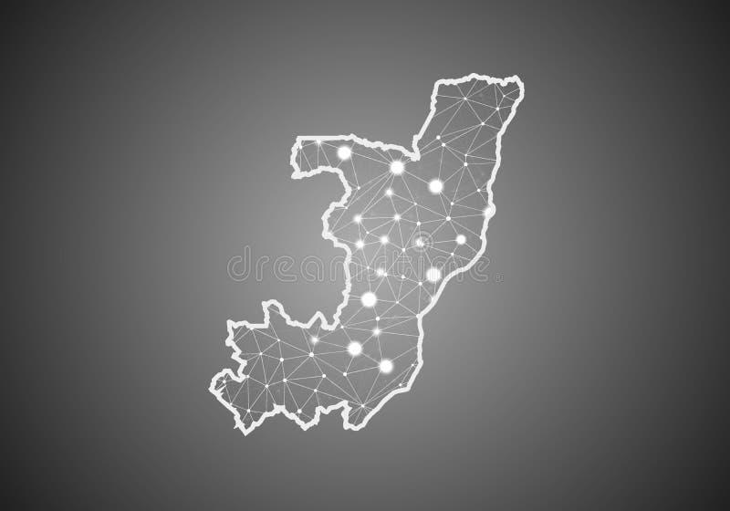 Διανυσματικό πλέγμα wireframe polygonal του χάρτη του Κογκό Αφηρημένη σφαιρική δομή σύνδεσης Χάρτης που συνδέεται με τις γραμμές  ελεύθερη απεικόνιση δικαιώματος