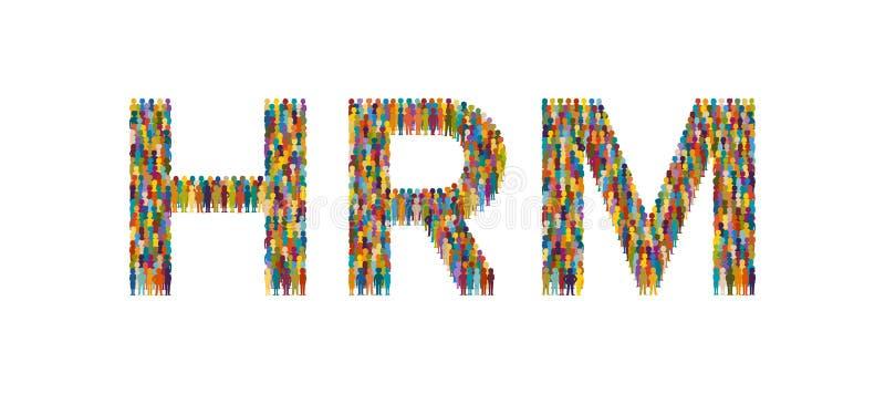 Διανυσματικό πλήθος των ανθρώπων με μορφή επίπεδου ύφους κειμένων HRM απεικόνιση αποθεμάτων
