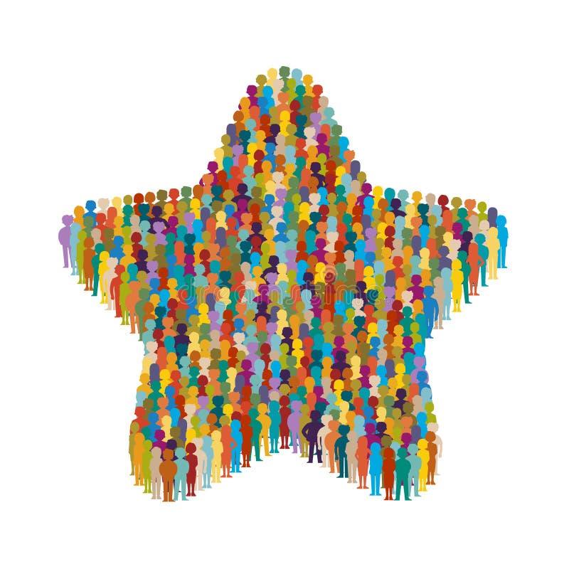 Διανυσματικό πλήθος των ανθρώπων που στέκονται ως μορφή του σημαδιού αστεριών διανυσματική απεικόνιση