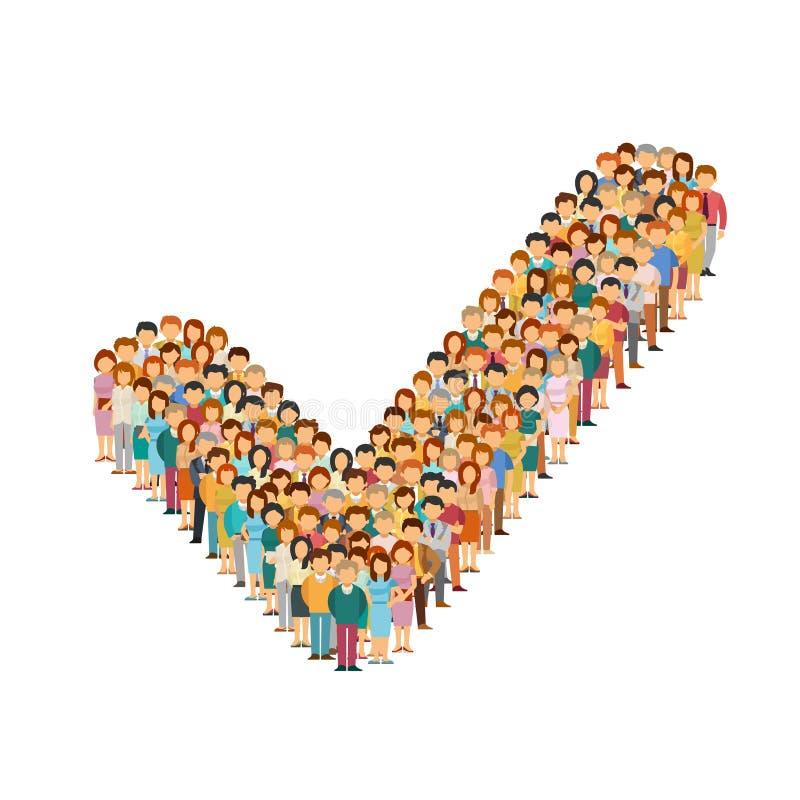 Διανυσματικό πλήθος των ανθρώπων που στέκονται ως μορφή του σημαδιού ελέγχου ψηφοφορίας ελεύθερη απεικόνιση δικαιώματος
