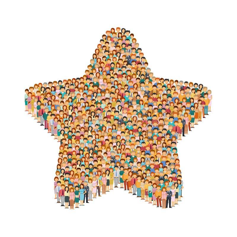 Διανυσματικό πλήθος των ανθρώπων που στέκονται ως μορφή του σημαδιού αστεριών απεικόνιση αποθεμάτων