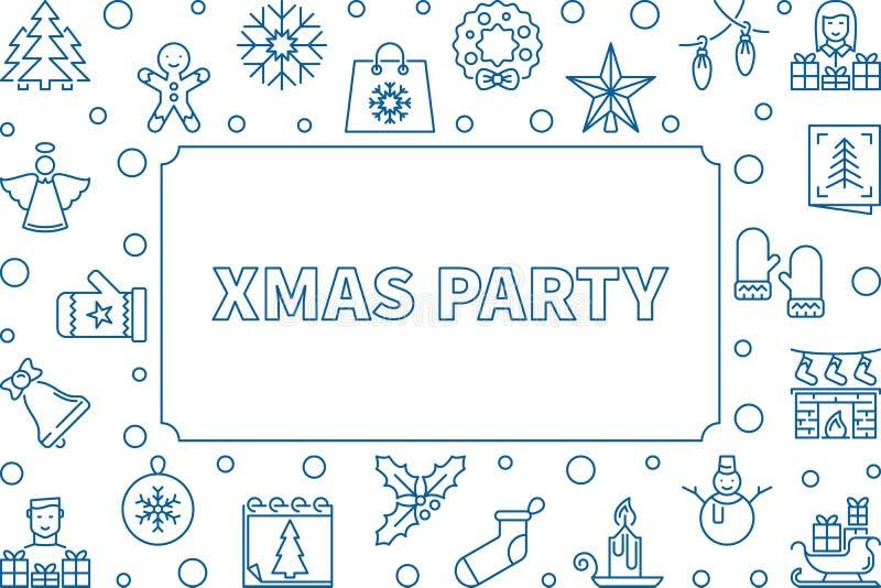 Διανυσματικό πλαίσιο κόμματος Χριστουγέννων που γίνεται με τα μπλε εικονίδια γραμμών διανυσματική απεικόνιση