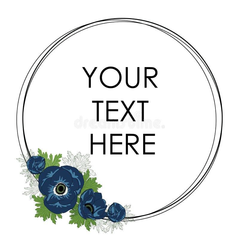 Διανυσματικό πλαίσιο κύκλων με τα μπλε anemones floral σειρά πλαισίων πλαισίων ελεύθερη απεικόνιση δικαιώματος