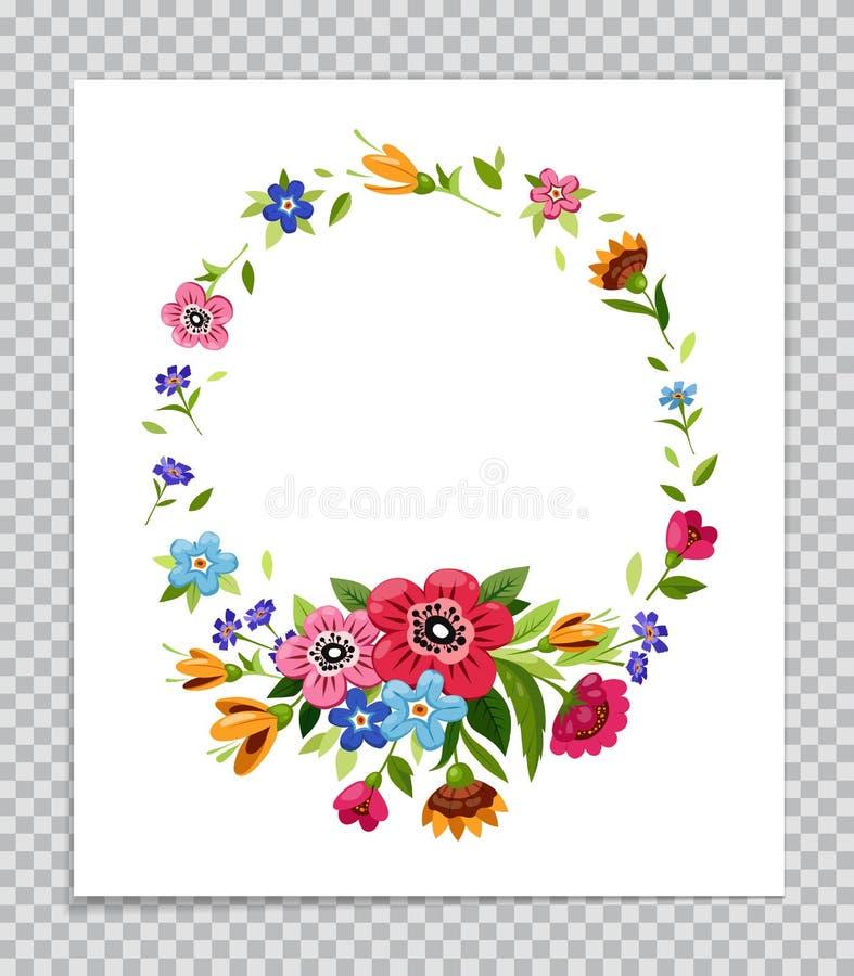 Διανυσματικό πλαίσιο λουλουδιών Πρότυπο για την πρόσκληση, ευχετήρια κάρτα, κάλυψη, σημειωματάριο ζωηρόχρωμο στεφάνι λουλ&o κόκκι απεικόνιση αποθεμάτων