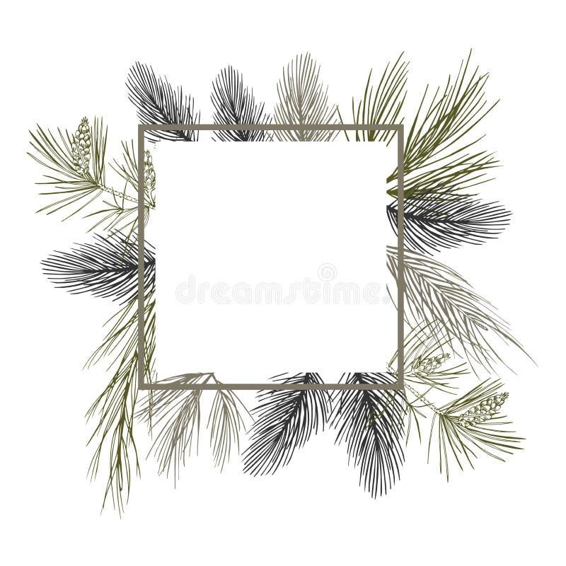 Διανυσματικό πλαίσιο με τις εγκαταστάσεις Χριστουγέννων Hand-drawn ilustration ελεύθερη απεικόνιση δικαιώματος