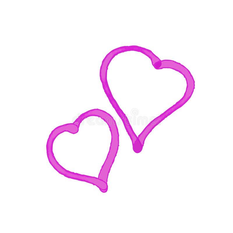 Διανυσματικό πλαίσιο μορφής καρδιών με τη ζωγραφική βουρτσών που απομονώνεται στο άσπρο υπόβαθρο ελεύθερη απεικόνιση δικαιώματος