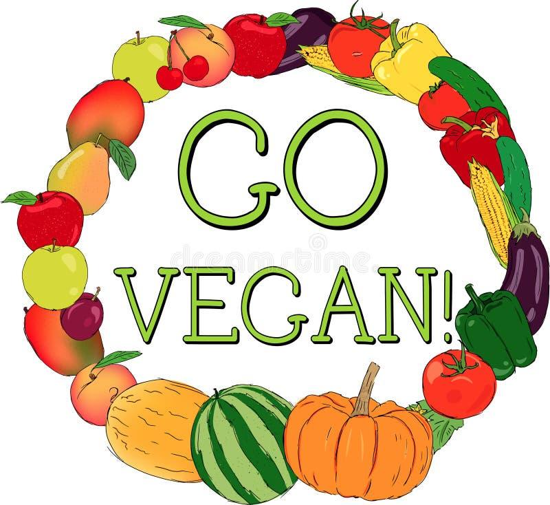 Διανυσματικό πλαίσιο φρέσκων λαχανικών και φρούτων Vegan διανυσματική απεικόνιση