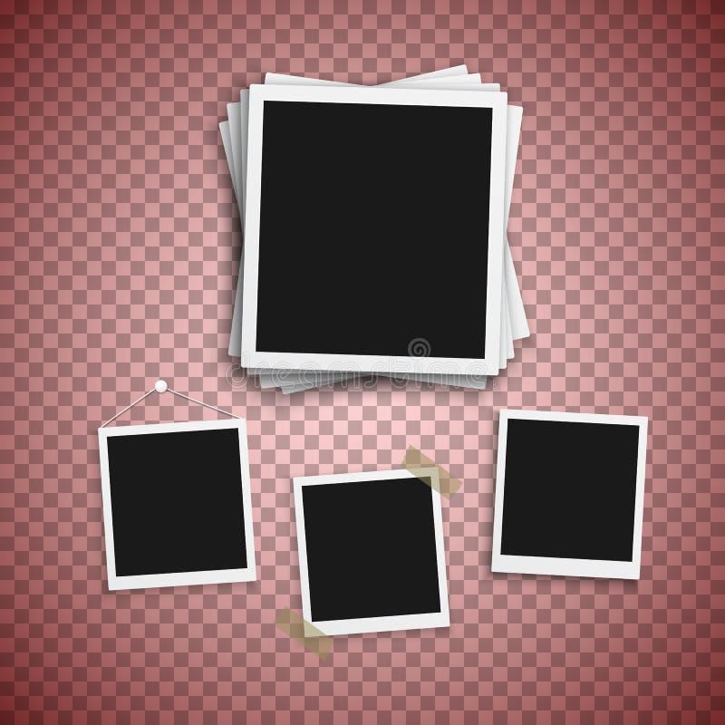 Διανυσματικό πλαίσιο φωτογραφιών Ρεαλιστική σύγχρονη φωτογραφία στιγμιοτύπων Στιγμιαία εικόνα εγγράφου Photoframe λευκωμάτων Πρότ ελεύθερη απεικόνιση δικαιώματος