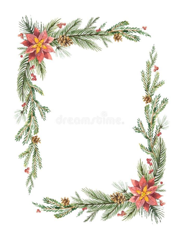Διανυσματικό πλαίσιο Χριστουγέννων Watercolor με τους κλάδους έλατου και θέση για το κείμενο διανυσματική απεικόνιση