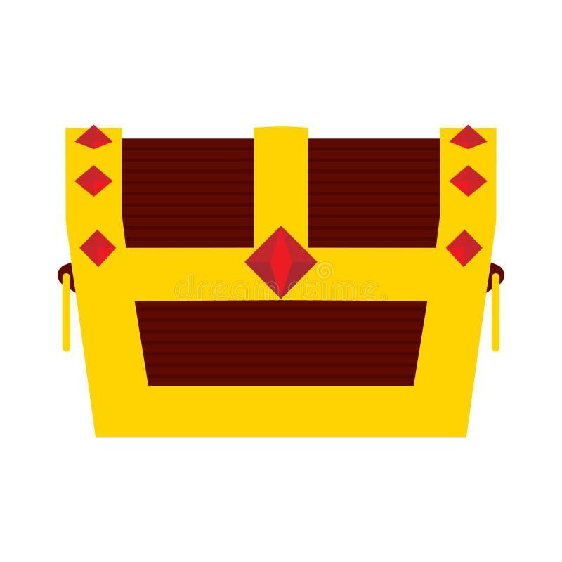 Διανυσματικό πλούσιο σημάδι εικονιδίων θησαυρών θωρακικού αντικειμένου κιβωτίων Λαμπρό χρυσό ξύλινο σύμβολο πειρατών Μπροστινή άπ απεικόνιση αποθεμάτων