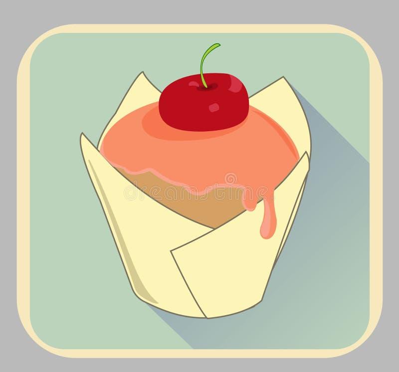 Διανυσματικό, πολύ γλυκό κομμάτι muffins, απεικόνιση απεικόνιση αποθεμάτων