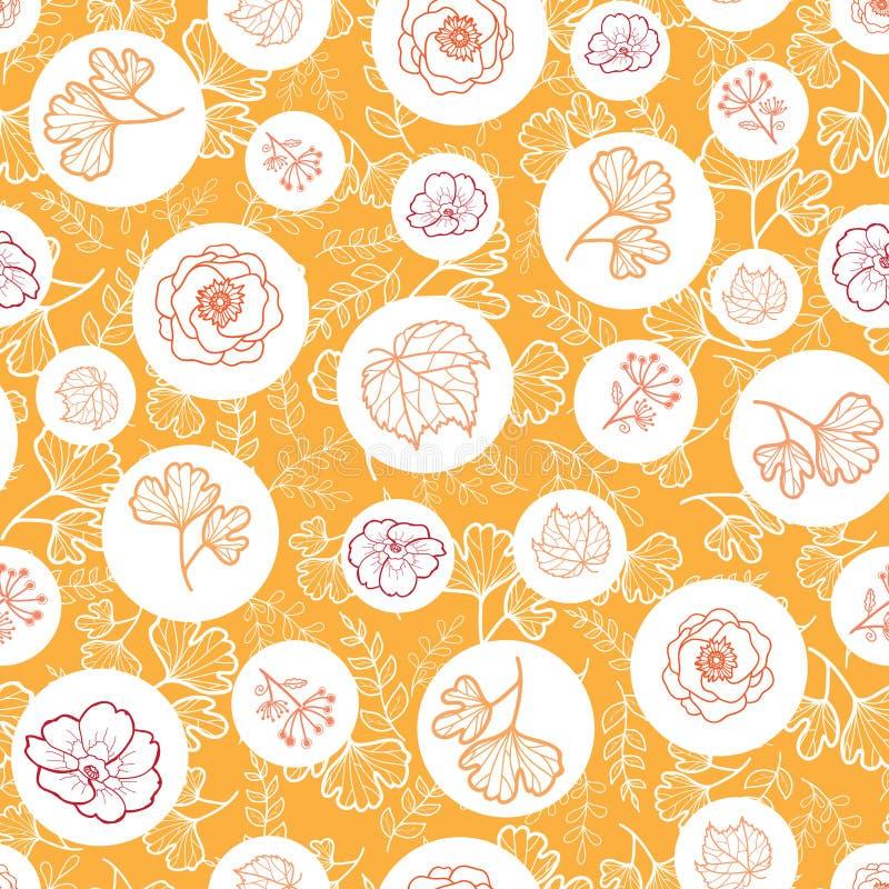 Διανυσματικό πορτοκαλί, άσπρο άνευ ραφής σχέδιο με τα λουλούδια πτώσης Υπόβαθρο για τις καλύψεις υφάσματος ή βιβλίων, κατασκευή,  διανυσματική απεικόνιση