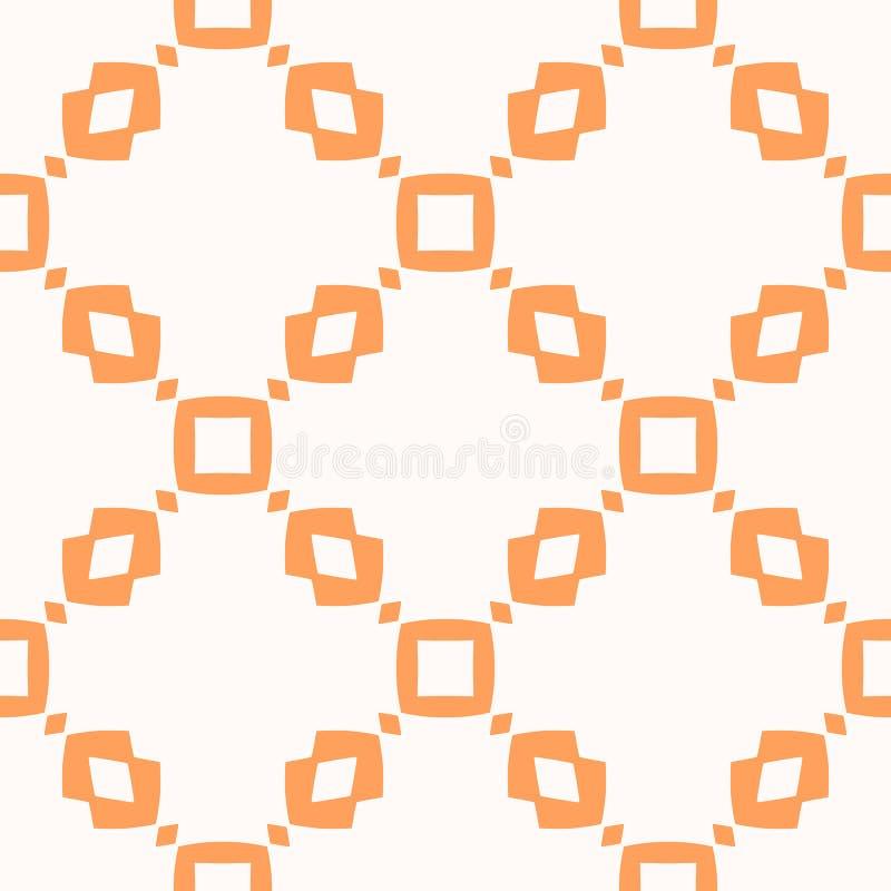 Διανυσματικό πορτοκαλί γεωμετρικό άνευ ραφής σχέδιο με τα τετράγωνα, rhombuses, πλέγμα, πλέγμα διανυσματική απεικόνιση