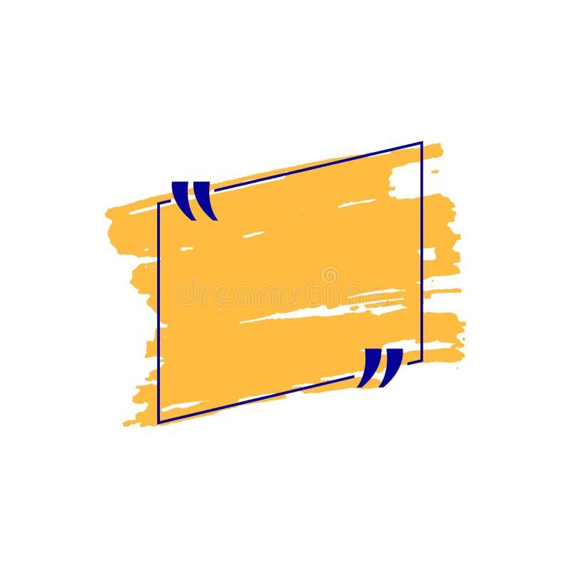 Διανυσματικό πορτοκαλί και μπλε χρωματισμένο συρμένο χέρι πλαίσιο αποσπάσματος που απομονώνεται απεικόνιση αποθεμάτων