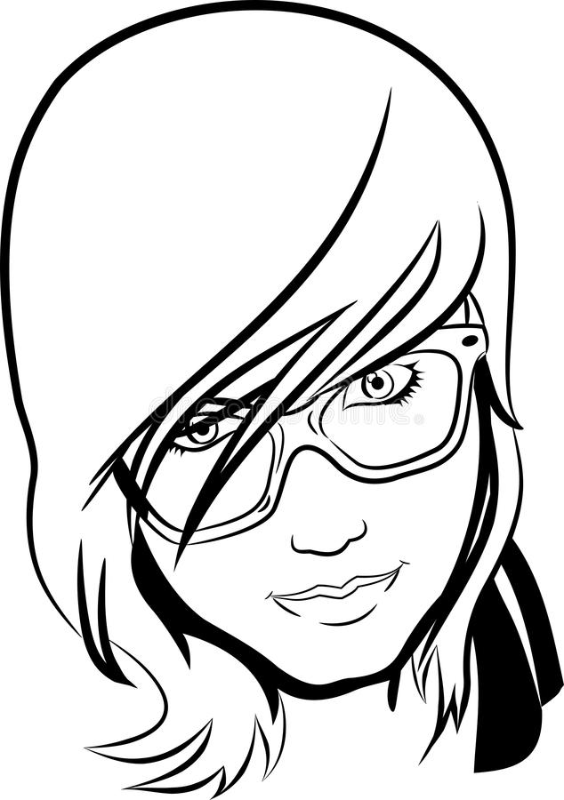 Διανυσματικό πορτρέτο γραμμών του κοριτσιού με τα specs ελεύθερη απεικόνιση δικαιώματος