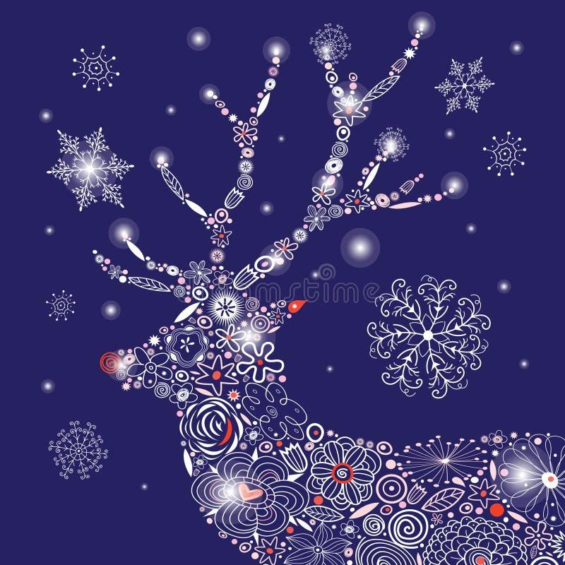 Διανυσματικό πορτρέτο ελαφιών Χριστουγέννων διακοσμητικό ελεύθερη απεικόνιση δικαιώματος