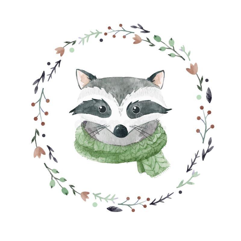 Διανυσματικό πορτρέτο ρακούν Watercolor ελεύθερη απεικόνιση δικαιώματος