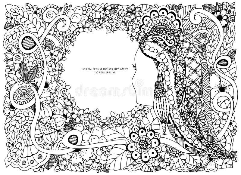 Διανυσματικό πορτρέτο σύγχυσης της Zen απεικόνισης μιας γυναίκας σε ένα πλαίσιο λουλουδιών doodle διανυσματική απεικόνιση