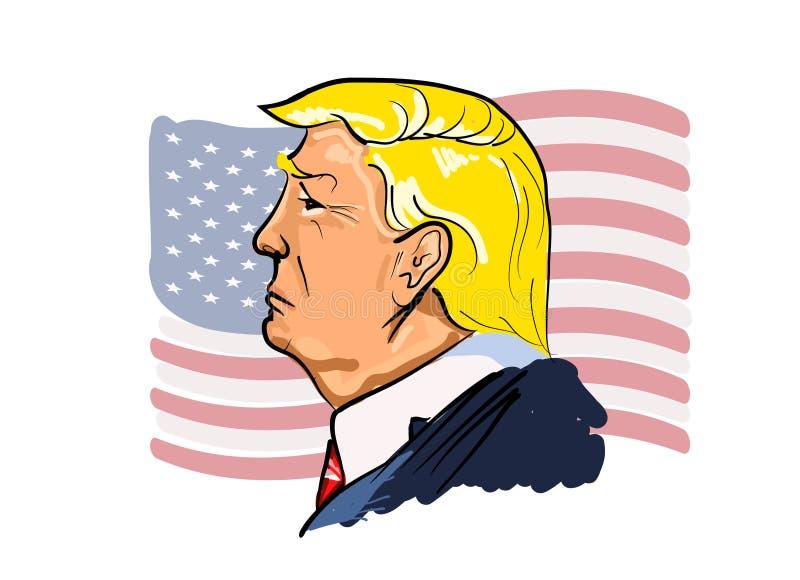 Διανυσματικό πορτρέτο του Ντόναλντ Τραμπ απεικόνιση αποθεμάτων