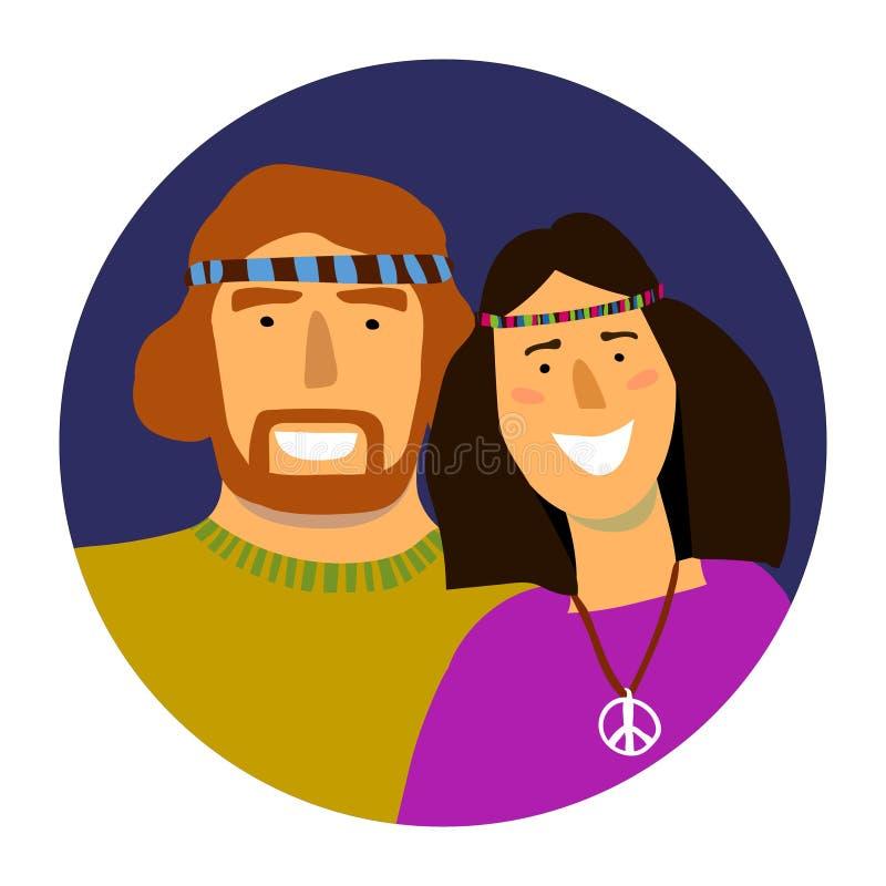 Διανυσματικό πορτρέτο του χαμογελώντας άνδρα και της γυναίκας χίπηδων σε έναν κύκλο ελεύθερη απεικόνιση δικαιώματος