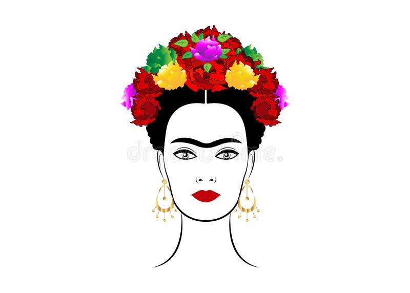 Διανυσματικό πορτρέτο Kahlo Frida, νέα όμορφη μεξικάνικη γυναίκα με ένα παραδοσιακό hairstyle απεικόνιση αποθεμάτων