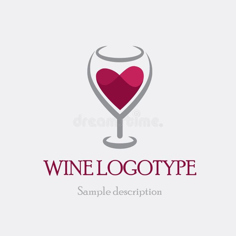 Διανυσματικό ποτήρι λογότυπων απεικόνισης του κόκκινου κρασιού σε ένα άσπρο υπόβαθρο υπό μορφή καρδιάς διανυσματική απεικόνιση