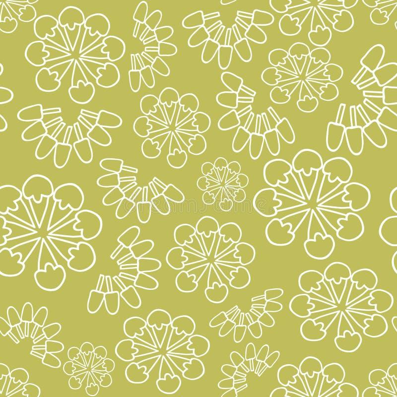 Διανυσματικό πράσινο μονοχρωματικό υπόβαθρο σχεδίων παγωτού floral άνευ ραφής ελεύθερη απεικόνιση δικαιώματος