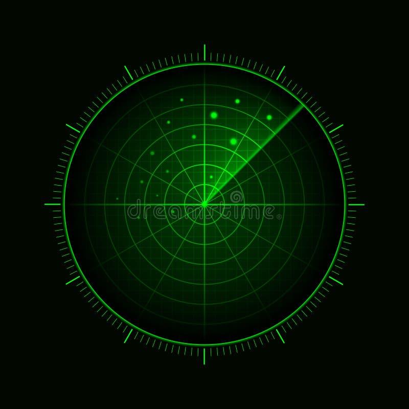 Διανυσματικό πράσινο ραντάρ Επίδειξη ραντάρ HUD Στρατιωτικό σύστημα αναζήτησης r απεικόνιση αποθεμάτων