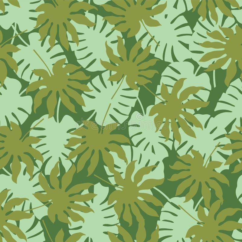 Διανυσματικό πράσινο τροπικό υπόβαθρο σχεδίων φύλλων άνευ ραφής απεικόνιση αποθεμάτων