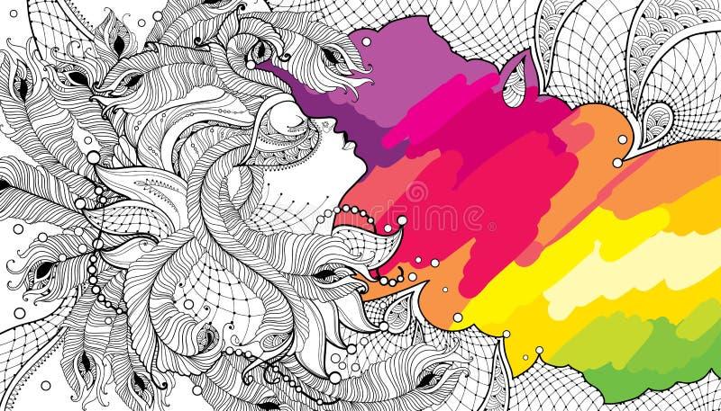Διανυσματικό πρόσωπο γυναικών σχεδιαγράμματος στη μάσκα καρναβαλιού με τα φτερά περιλήψεων peacock, το περίκομψες περιλαίμιο και  ελεύθερη απεικόνιση δικαιώματος
