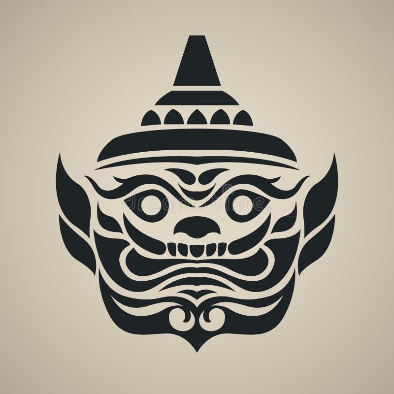 Διανυσματικό πρόσωπο της γιγαντιαίας Ταϊλάνδης, εκλεκτής ποιότητας παραδοσιακό ταϊλανδικό ύφος ελεύθερη απεικόνιση δικαιώματος
