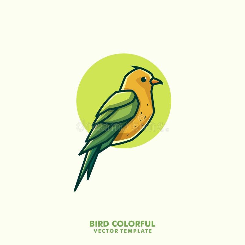 Διανυσματικό πρότυπο απεικόνισης έννοιας τέχνης γραμμών πουλιών ζωηρόχρωμο ελεύθερη απεικόνιση δικαιώματος