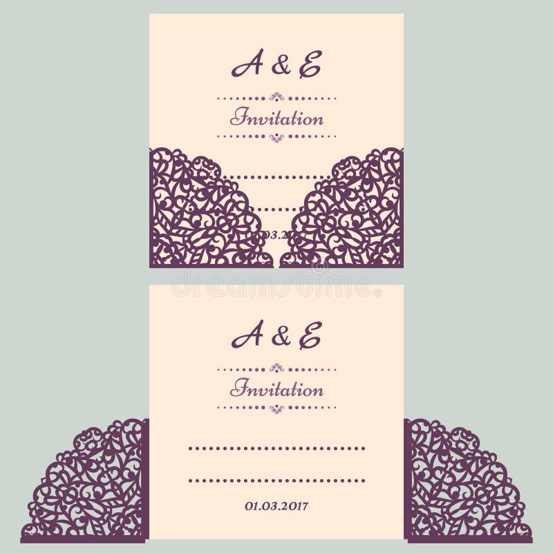 Διανυσματικό πρότυπο γαμήλιας πρόσκλησης Lazercut Φάκελος γαμήλιας πρόσκλησης για την κοπή λέιζερ Πτυχές πυλών δαντελλών Περικοπή απεικόνιση αποθεμάτων