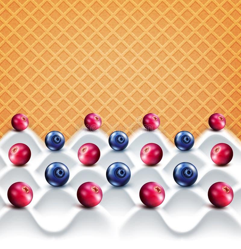 Διανυσματικό πρότυπο: γιαούρτι κυμάτων με τα μούρα (τα βακκίνια, bluebe απεικόνιση αποθεμάτων