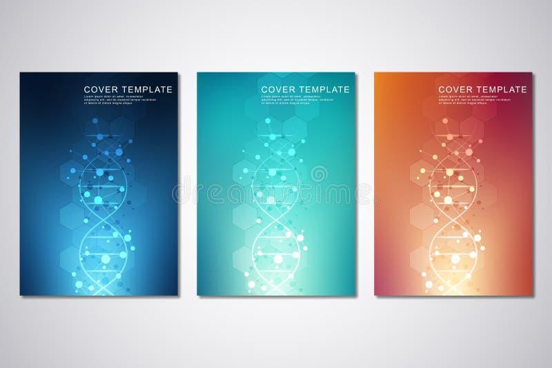 Διανυσματικό πρότυπο για την κάλυψη ή το φυλλάδιο, με το υπόβαθρο μορίων και το σκέλος DNA Ιατρικός ή επιστημονικός και τεχνολογι διανυσματική απεικόνιση