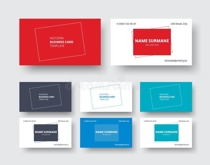 Διανυσματικό πρότυπο επαγγελματικών καρτών σε ένα σύγχρονο μινιμαλιστικό ύφος με απεικόνιση αποθεμάτων