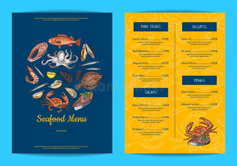 Διανυσματικό πρότυπο επιλογών για το εστιατόριο, το κατάστημα ή τον καφέ με συρμένα τα χέρι στοιχεία θαλασσινών διανυσματική απεικόνιση