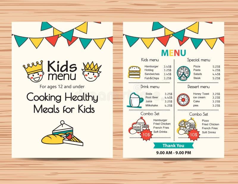 Διανυσματικό πρότυπο επιλογών γεύματος παιδιών, σχέδιο επιλογών εστιατορίων απεικόνιση αποθεμάτων