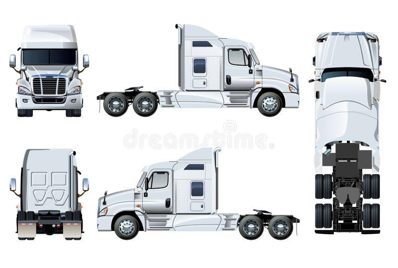Διανυσματικό πρότυπο ημι-φορτηγών που απομονώνεται στο λευκό απεικόνιση αποθεμάτων