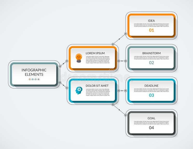 Διανυσματικό πρότυπο διαγραμμάτων ροής Infographic ελεύθερη απεικόνιση δικαιώματος
