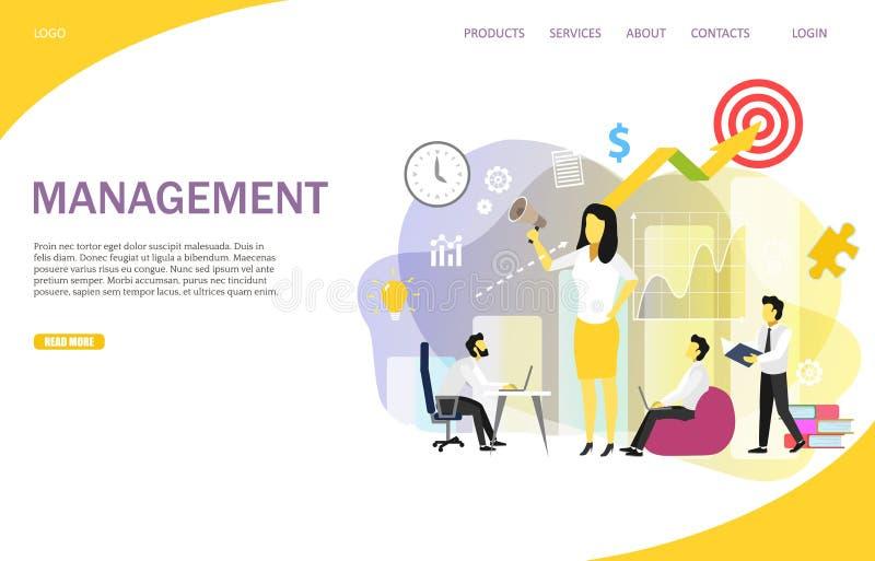 Διανυσματικό πρότυπο ιστοχώρου σελίδων διοίκησης επιχειρήσεων προσγειωμένος διανυσματική απεικόνιση