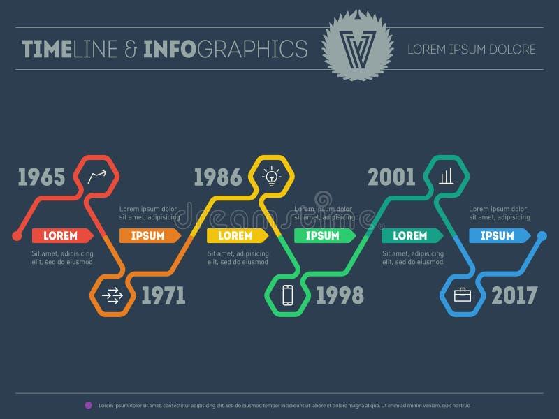 Διανυσματικό πρότυπο Ιστού της υπόδειξης ως προς το χρόνο Infographic με τα εικονίδια και desig απεικόνιση αποθεμάτων