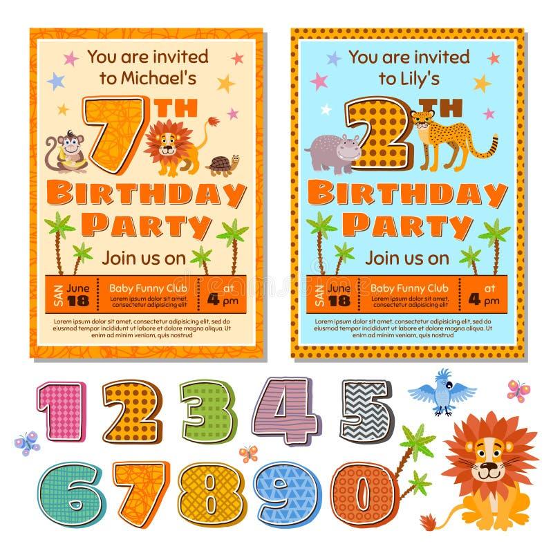 Διανυσματικό πρότυπο καρτών πρόσκλησης γιορτών γενεθλίων παιδιών με τα χαριτωμένα ζώα κινούμενων σχεδίων απεικόνιση αποθεμάτων
