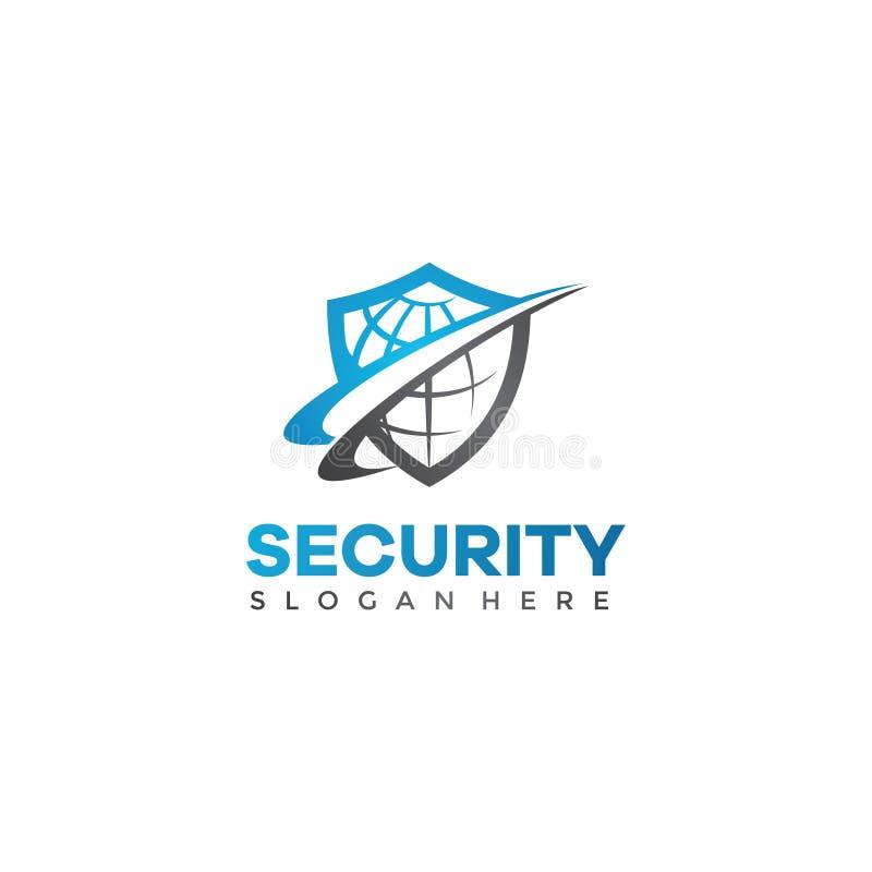 Διανυσματικό πρότυπο λογότυπων ασπίδων ασφάλειας ελεύθερη απεικόνιση δικαιώματος